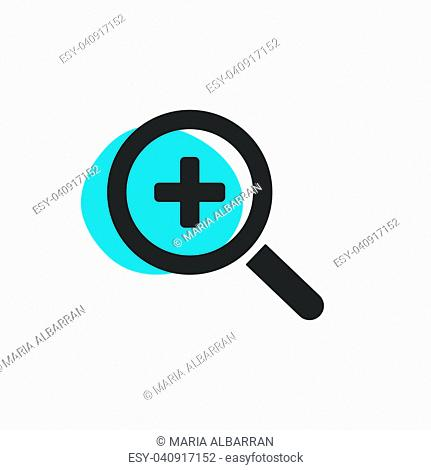 Magnifying glass plus zoom isolated web icon. Vector illustration