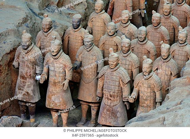 China, Shaanxi province, Xian, Lintong site, Detail of some of the six thousand statues in the Army of Terracotta Warriors, 2000 years old