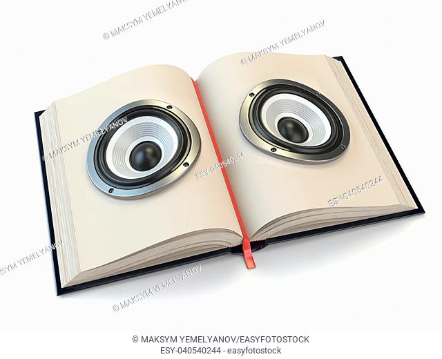 Audiobook or e-learning concept. Open book with loudspeakers on the pages. 3d illustration
