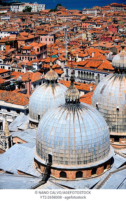 View of the domes of the Basilica of San Marco (St. Mark's Basilica) from the Campanile di San Marco (St. Mark's bell tower), Venice, Italy