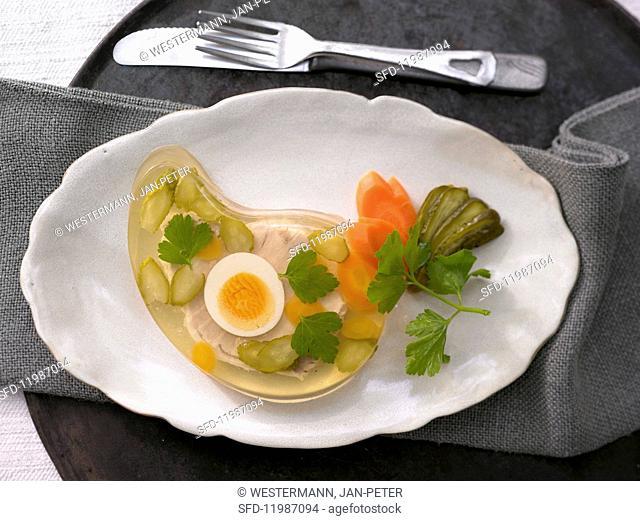 Egg and cucumber in aspic