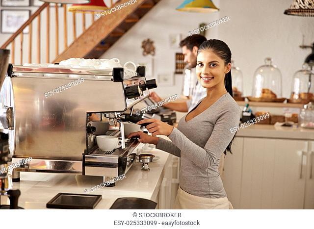 Female barista at work