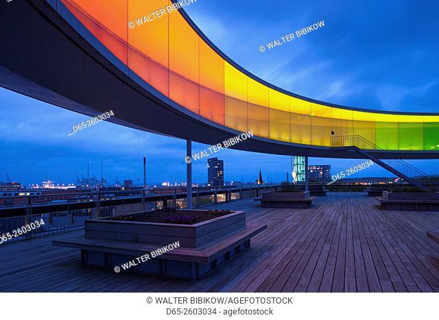 Denmark, Jutland, Aarhus, ARoS Aarhus Kunstmuseum, art museum, Your Rainbow Panorama, 360-degree rooftop walkway, exterior, dusk