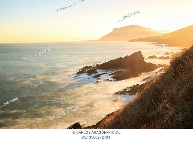 Sunrise on the coast in Muskiz, Spain
