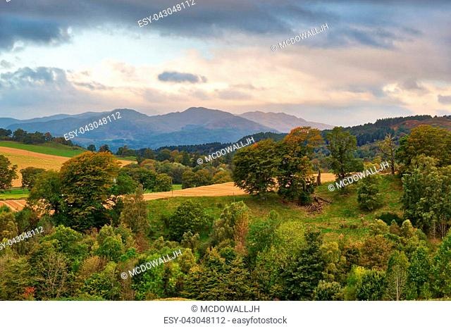 The Scottish mountains including Ben Chonzie that overlook the town of Crieff in autumn