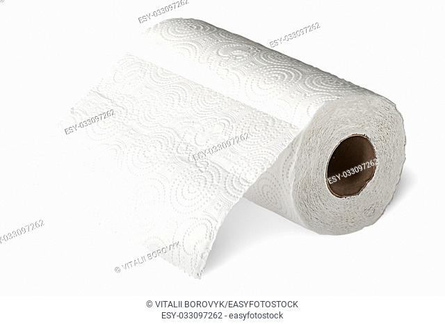 Roll white paper towels horizontally unrolled isolated on white background