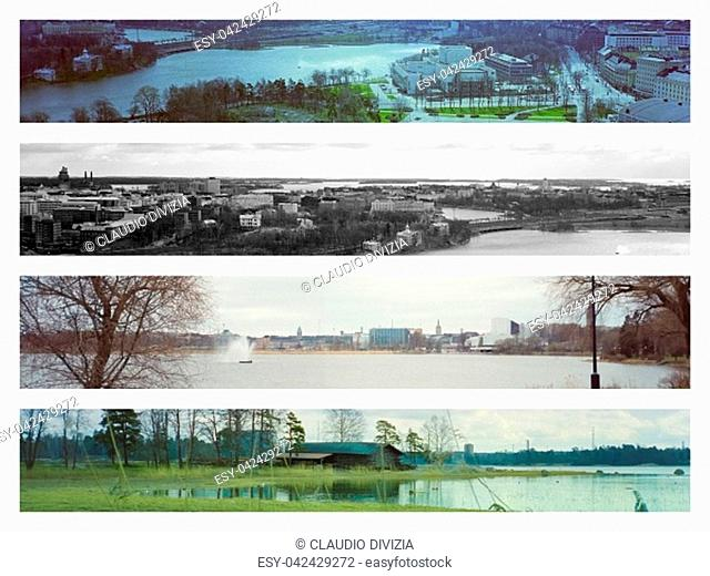 Collage of four different views of the city of Helsinki, Finland