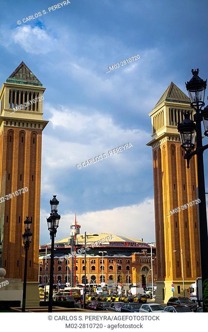 Plaza Espana square and Las Arenas shopping mall -antique bullring- in Barcelona Catalonia Spain