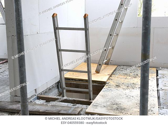 Building site with house under construction - Stairs to the first floor - Netherlands