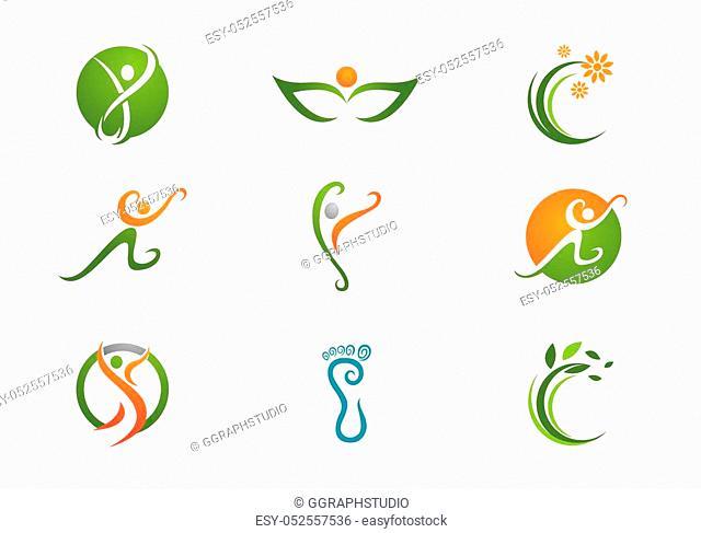 Fun people Healthy Life icon Logo template
