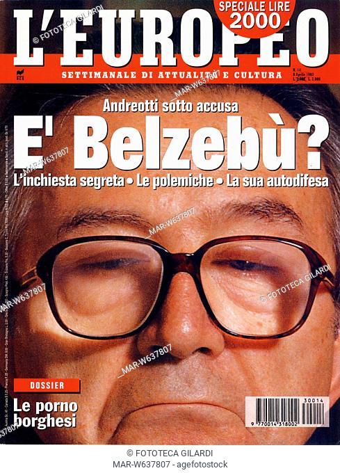 GIORNALI 'Andreotti sotto accusa. E' Belzebù? L'inchiesta segreta, le polemiche, la sua autodifesa'. Copertina del settimanale illustrato L'Europeo del 9/4/1993