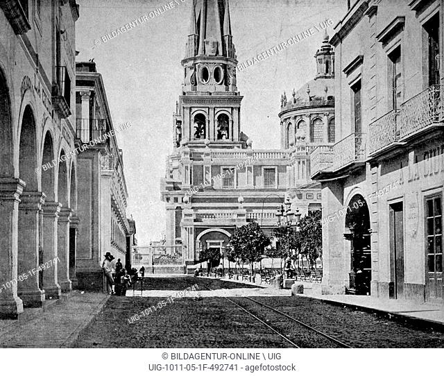One of the first autotype photographs of the cathedrale of guadalajara, mexico
