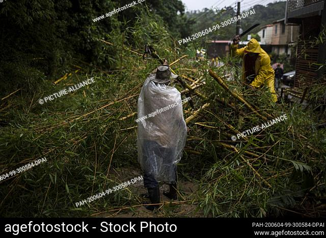 03 June 2020, El Salvador, Santo Tomás: In the municipality of Panchimalco, city government employees are removing trees from a road that had fallen down due to...