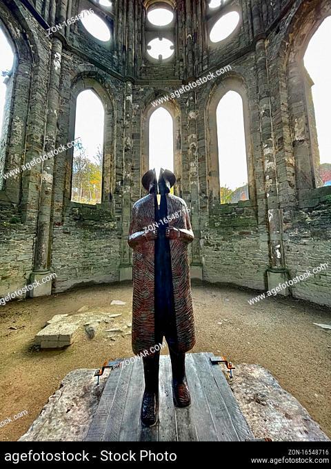 Sculpture from the artist Jean-Michel Folon in the Abbey of Villers-La-Ville, Walloon Brabant, Belgium, December 19th, 2020