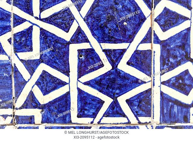 Tiled wall panel in the harem, Tash Khauli, also known as Tosh Hovli, Ichan Kala, Khiva, Uzbekistan