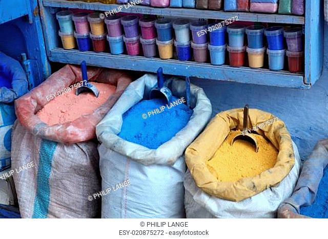 Colors for sale in the medina of Chefchaouen, Morocco