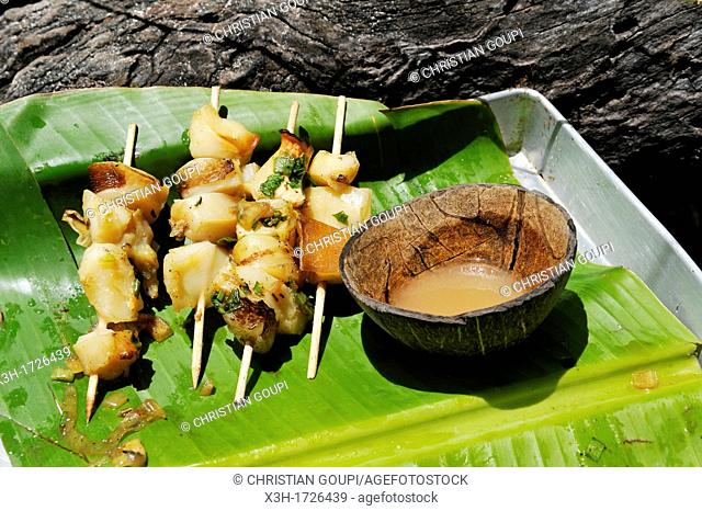 lambis shellfish brochettes, Martinique, french island overseas region and department in the Lesser Antilles in the eastern Caribbean Sea, Atlantic Ocean