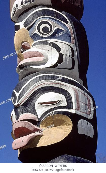 Totem pole detail Museum of Anthropology Vancouver Island Britsh Columbia Canada