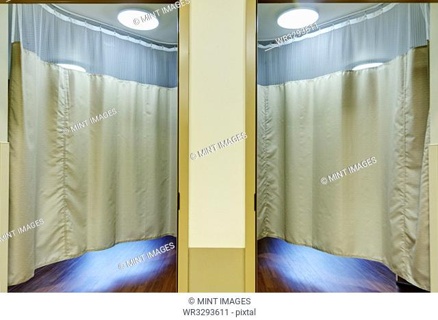 Curtains in patient rooms in assisted living facility