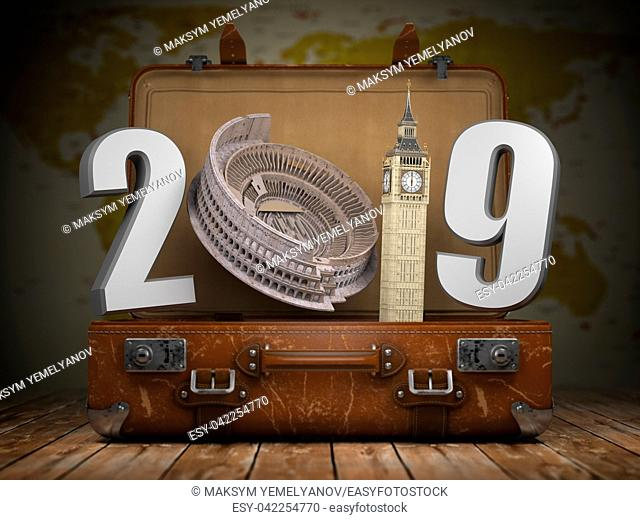 2019 Happy new year. Vintage suitcase with number 2019 as Coloisseum and Big Ben tower. Travel and tourism concept. 3d illustration