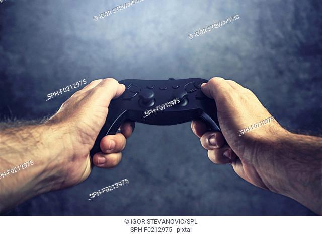 Man using game controller