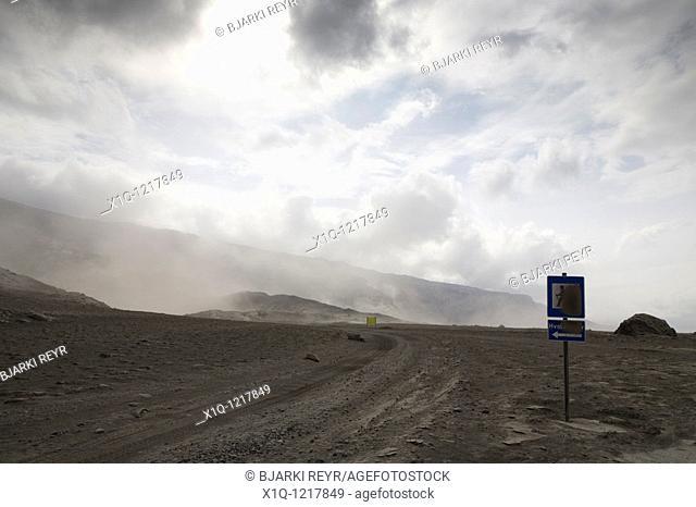 Thorsmork - Iceland, June 9, 2010 : Volcanic ash from Eyjafjallajokull volcano is still blowing around south and southwest Iceland  A lot of ash is blowing...