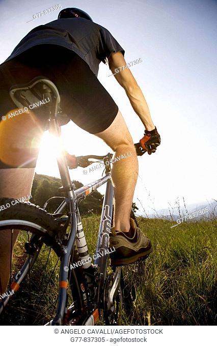 Italy, Pedimont, Lake Maggiore. Young man on mountain bike