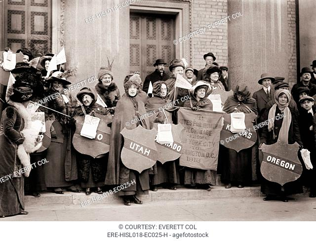 Women's Suffrage hikers who took part in the walk from New York City to Washington, D.C. to join the National American Woman Suffrage Association parade of...
