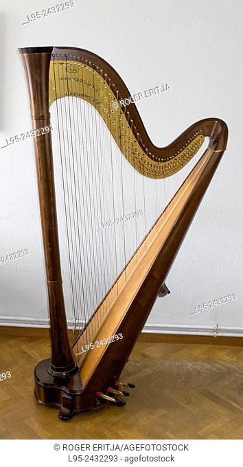 A Harp, indoors