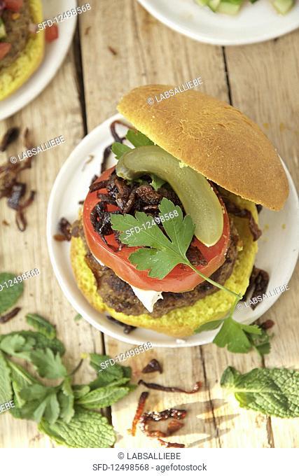 A juicy kebab burger