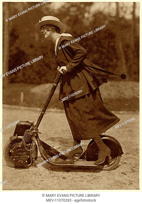 Woman (Hilda May) riding a motorised scooter, because taxis and petrol are in short supply during the First World War