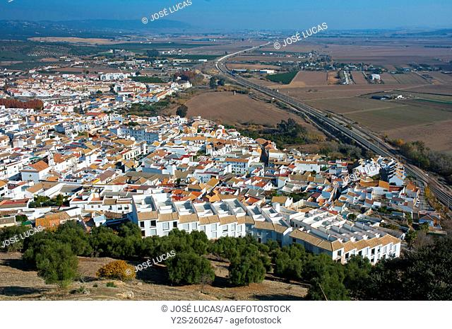 Panoramic view, Almodovar del Rio, Cordoba province, Region of Andalusia, Spain, Europe