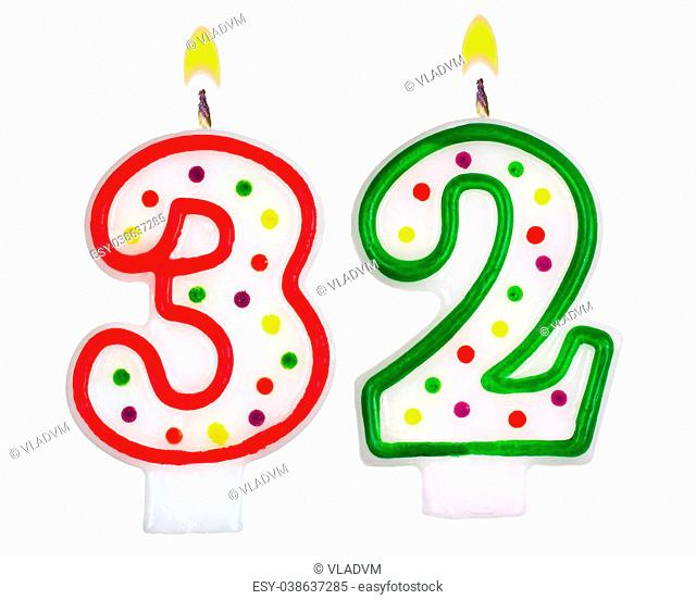 Birthday candles number thirty twoisolated on white background
