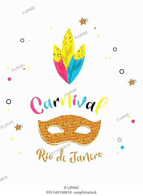 Carnival poster with glitter mask . Festival concept design. vector illustration