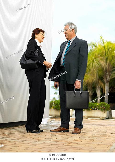 Businesspeople by a silver wall
