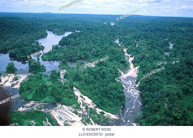 An Aerial View of the Ivindo River  Kongou Falls, Ivindo National Park, Gabon, West Africa