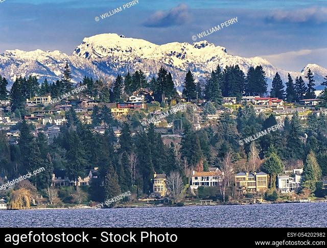Houses Residential Neighborhoods Lake Washington Snow Capped Cascade Mountains Bellevue Washington