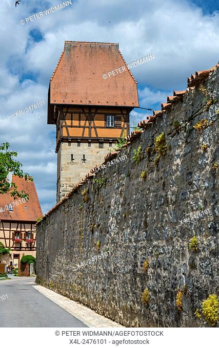 Baeuerlins Tower and City Wall, Dinkelsbuhl, Romantic Road, Middle Franconia, Bavaria, Germany
