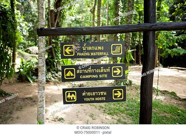 Place signs hanging on signpost, Koh Pha Ngan, Thailand
