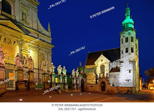 St Andrew's Church and parish church of St. Peter and Paul in Krakow by night, Poland, Europe, 4. July 2004