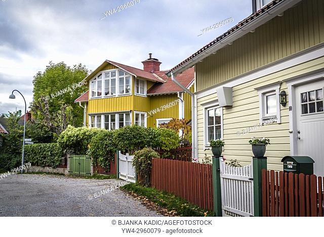 Well-preserved wooden houses from the turn of the last century, Vaxholm, Stockholm archipelago, Sweden