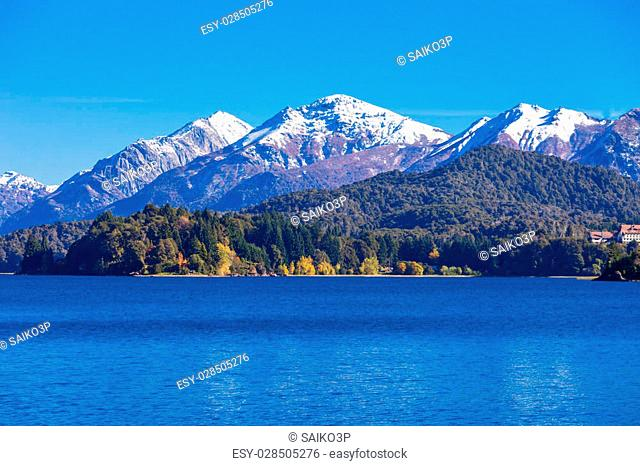 Tronador Mountain and Nahuel Huapi Lake, Bariloche. Tronador is an extinct stratovolcano in the southern Andes, located near the Argentine city of Bariloche