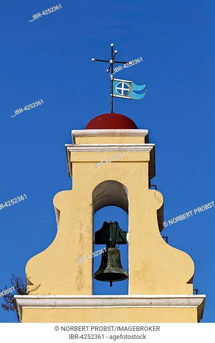 Bell tower, monastery of Panagia Theotokos tis Paleokastritsas or Panagia Theotokos, Paleokastritsa, Corfu, Ionian Islands, Greece
