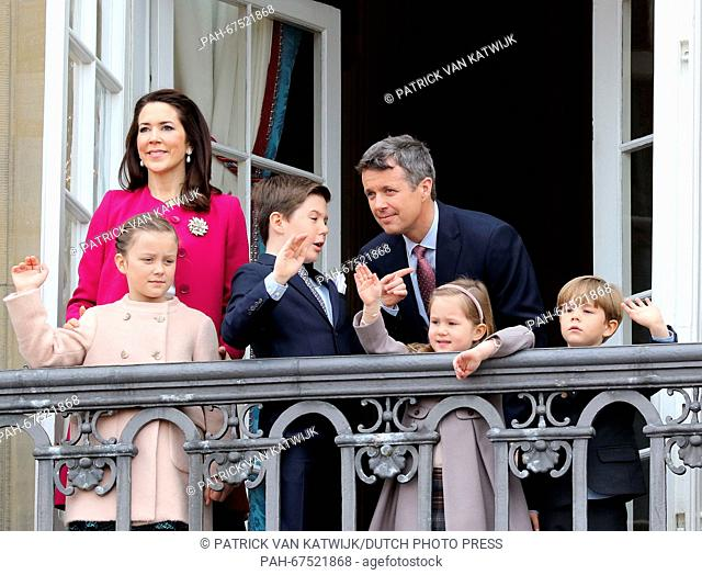 Crown Princess Mary (back, L), Prince Christian (3rd L), Princess Isabella (L), Crown Prince Frederik (back), Prince Vincent and Princess Josephine of Denmark...