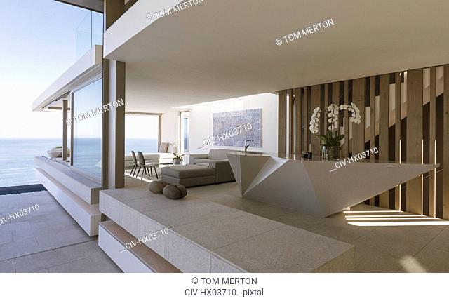 Modern, luxury home showcase interior with ocean view
