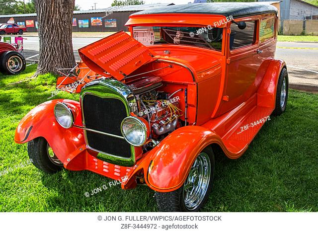 A customized 1929 Ford Delivery Van in the Moab April Action Car Show in Moab, Utah