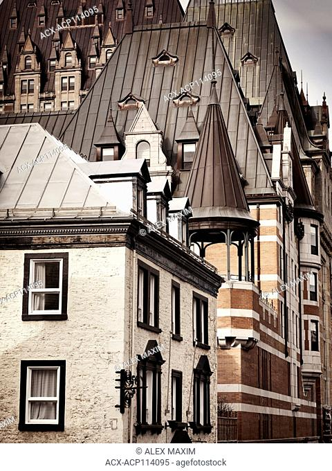 Chateau Frontenac and other historic buildings rooftops on the streets of Old Quebec City, Quebec, Canada. Ville de Québec