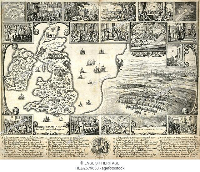 Map of the British Isles and illustrations of 17th century historical events, c1659. Artist: Wenceslaus Hollar