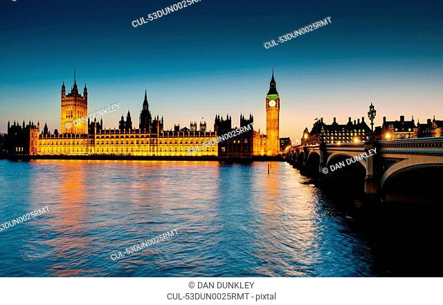 Houses of Parliament lit up at dusk