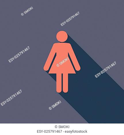 Female gender icon. Flat vector related icon with long shadow for web and mobile applications. It can be used as - logo, pictogram, icon, infographic element